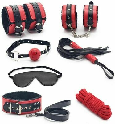 7 Pcs Black and Red Bondage Kit | moodTime