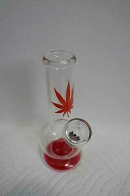 Glass Weed Leaf Bong 15cm - Assorted Colour Print | moodTime