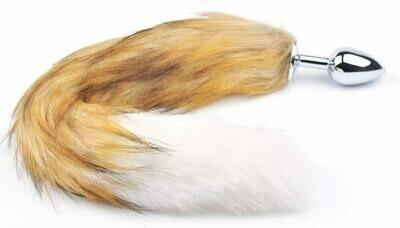 Metal Anal Butt Plug Furry Brown Fox Tail | moodTime