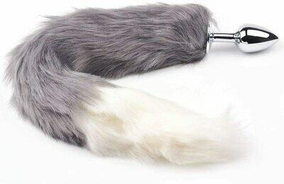 Metal Anal Butt Plug Furry Grey Cat Tail | moodTime