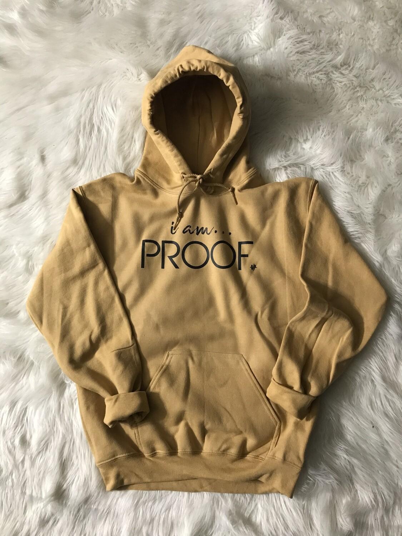 "Old Gold ""i am Proof"" Kangaroo Pocket Hoodie"