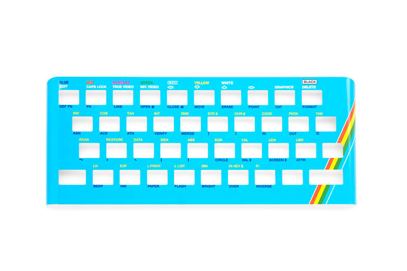 Zx Spectrum 16k/48k keyboard replica cover plate (faceplate) cyan