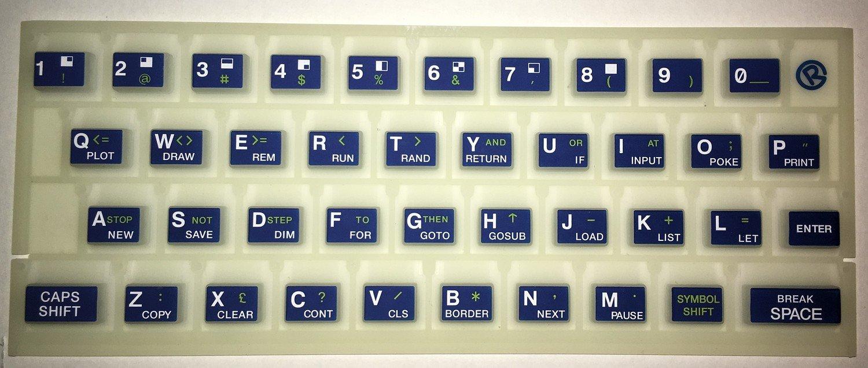 ZX SPECTRUM 16k/48k Fluorescent keyboard mat Blue