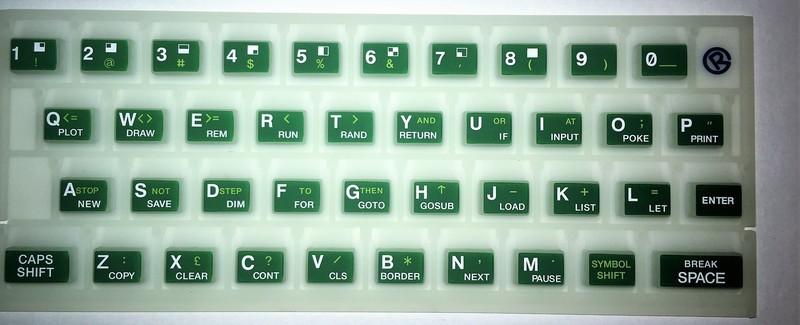 ZX SPECTRUM 16k/48k Fluorescent keyboard mat Green