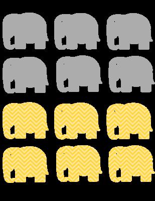 Gray and yellow Chevron elephant tags