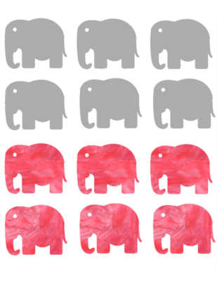 Gray and pink wash elephant tags
