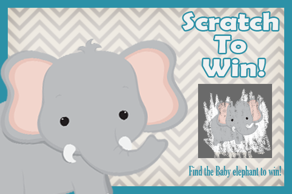 Baby shower scratch off game- elephant theme post card
