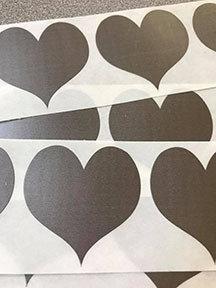 Die cut heart scratch off sticker