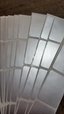 Silver Rectangle scratch off stickers, large