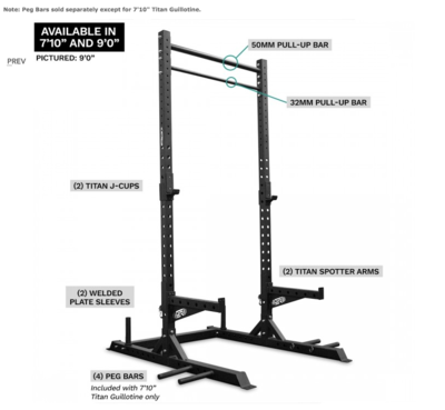 Titan Guillotine Squat Rack And Pull-Up Bar Combo